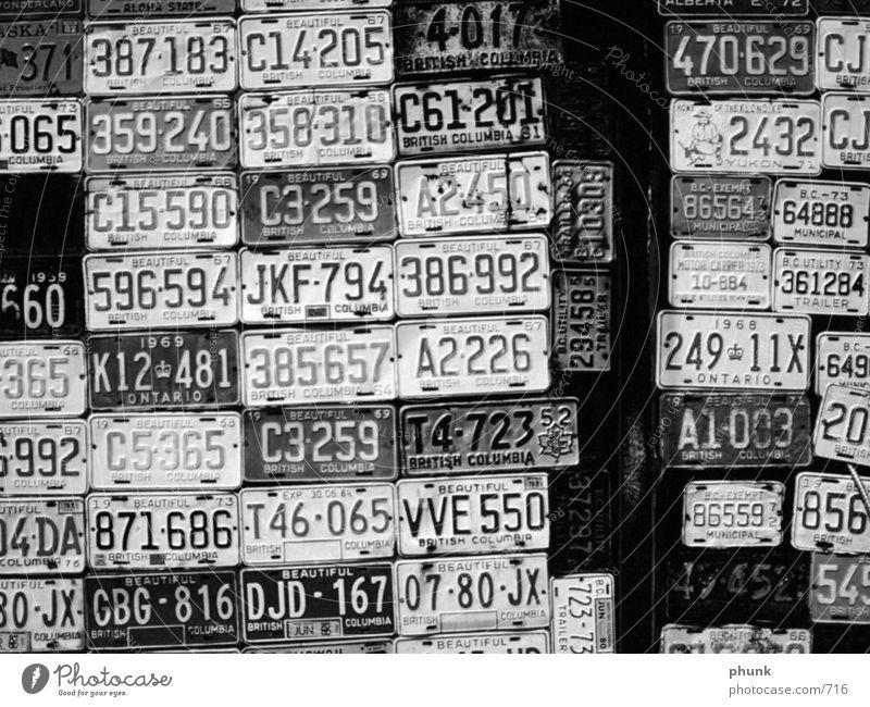 carplates Nummerntafel Ladengeschäft USA Großbritannien Verkehr alt trashig