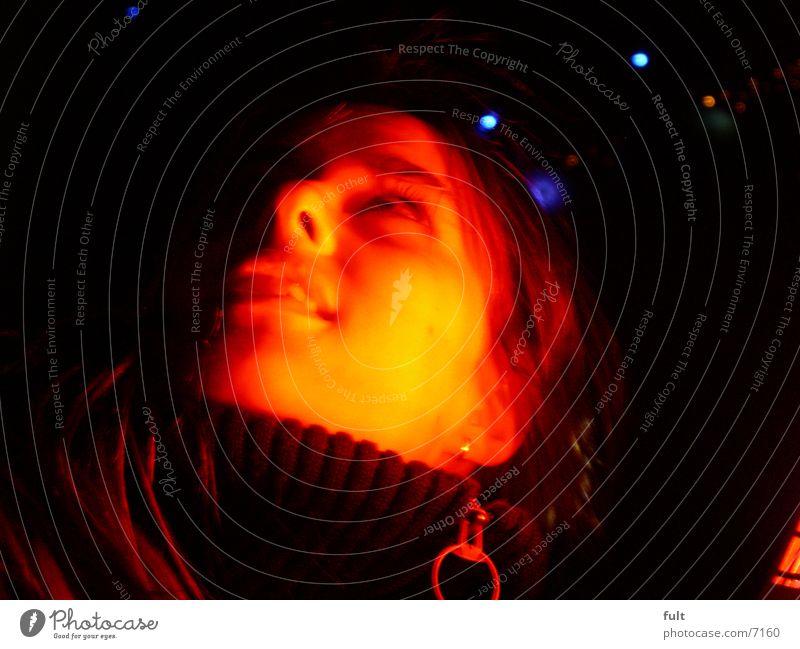 gesicht Frau rot Licht Nachtaufnahme Stil Gesicht