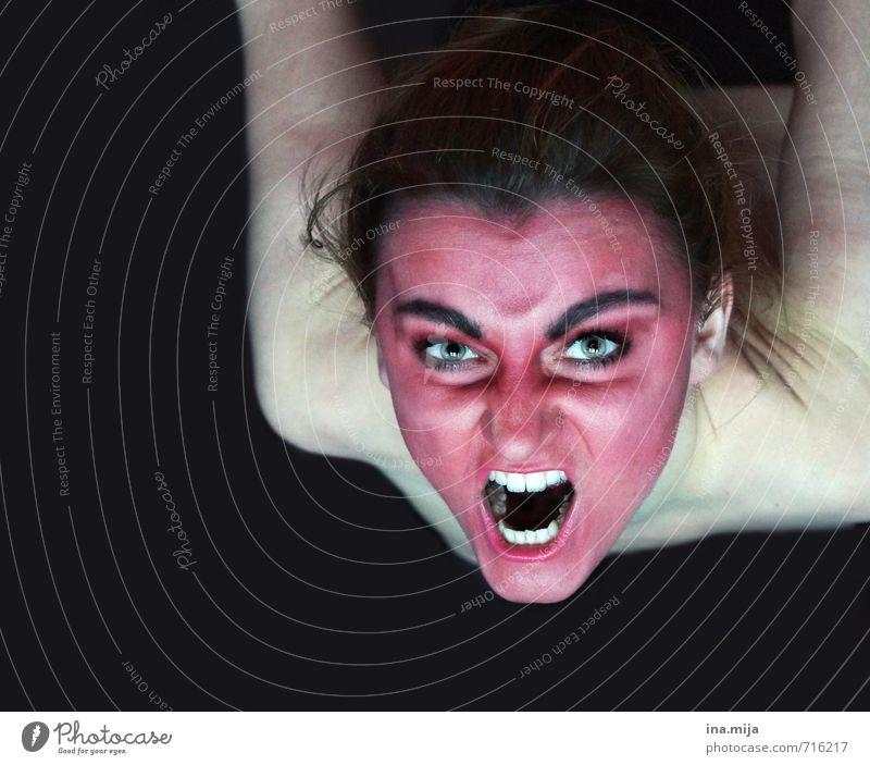 rotes wütendes Gesicht Halloween Mensch feminin Junge Frau Jugendliche Haut 18-30 Jahre Erwachsene träumen Aggression schwarz weiß Gefühle Wut Ärger gereizt