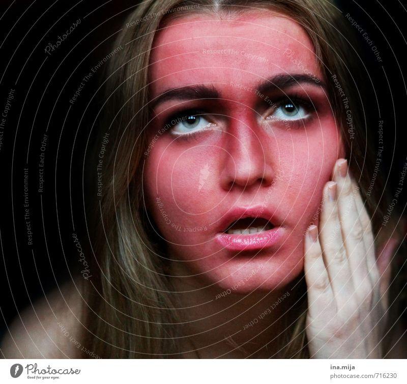 aua! Mensch Frau Kind Jugendliche Junge Frau rot 18-30 Jahre schwarz Erwachsene Gesicht feminin Angst Haut 13-18 Jahre Krankheit heiß