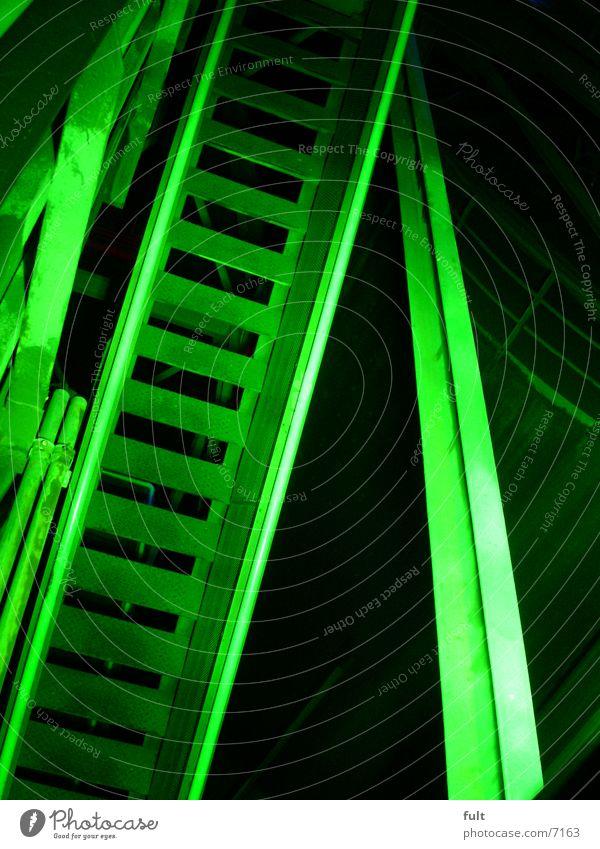 treppe grün Nachtaufnahme Landschaftspark Duisburg-Nord Licht Stil Industrie Treppe Geländer