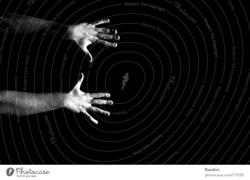 Hands Mensch weiß schwarz Kunst Kraft Arme Energiewirtschaft Finger leer stoppen fallen festhalten fangen Zauberei u. Magie Aufenthalt