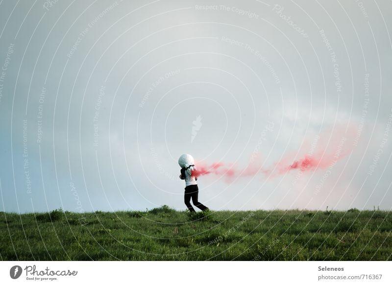 ab geht er Ausflug Abenteuer Ferne Freiheit Mensch 1 Himmel Wolken Horizont Gras Wiese Luftverkehr Helm fliegen laufen Leidenschaft Neugier Flugzeugstart Beginn