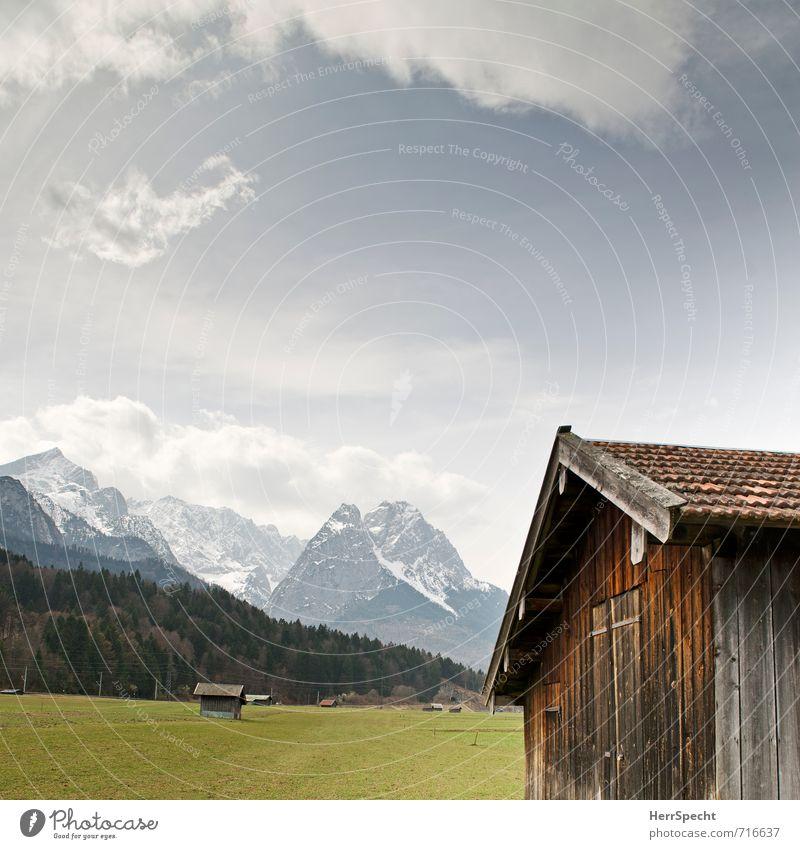 Zugspitzblick Himmel Natur Ferien & Urlaub & Reisen blau Stadt schön grün ruhig Wolken Umwelt Berge u. Gebirge natürlich braun Idylle Tourismus wandern