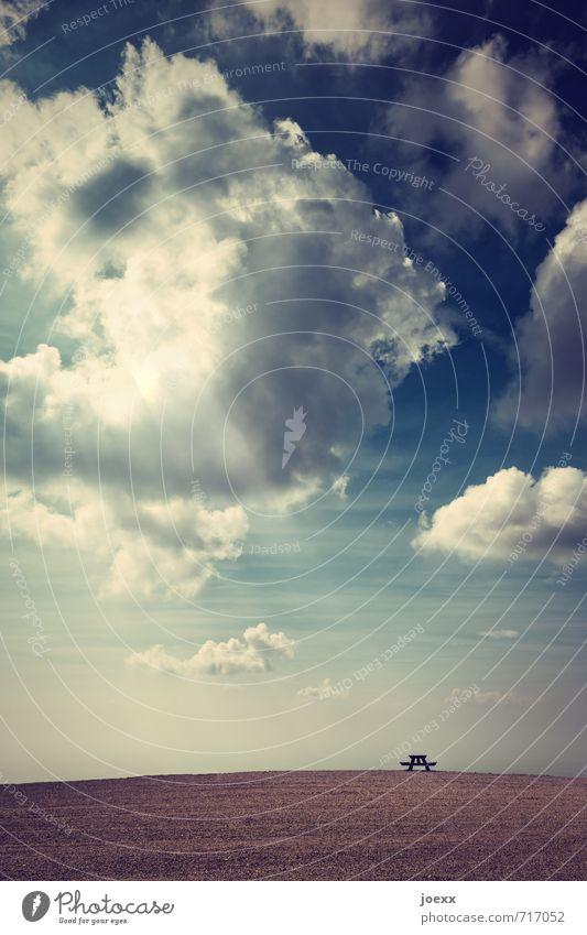Kontakt Himmel Wolken Horizont Sonnenlicht Schönes Wetter Hügel blau braun schwarz weiß ruhig träumen Hoffnung Zukunft Farbfoto Außenaufnahme Menschenleer Tag