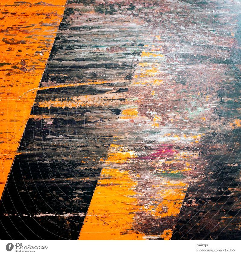 Kollateralschaden Stil Design Metall Schilder & Markierungen Streifen alt dreckig kaputt orange schwarz Farbe Verfall Wandel & Veränderung Kratzer