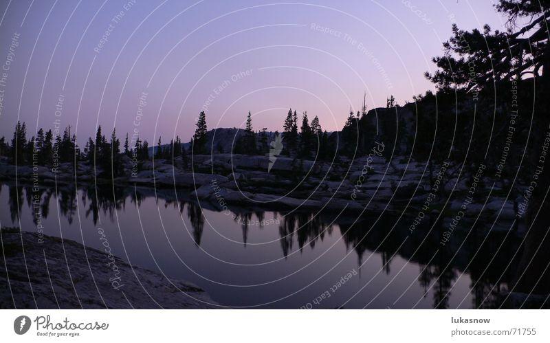 Desolation Valley 1 Ferien & Urlaub & Reisen ruhig kalt Berge u. Gebirge träumen See wandern frisch Klarheit Abenddämmerung Waldlichtung Granit Gebirgssee