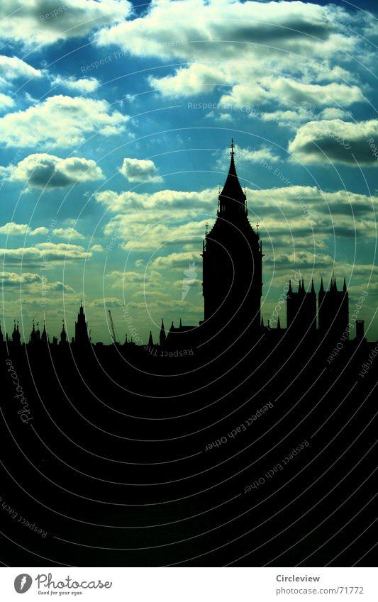 Ja, Wetter war gut Wolken schwarz Ferien & Urlaub & Reisen Europa England Gegenlicht Himmel London Big Ben historisch Wahrzeichen Denkmal Turm blau clouds sky