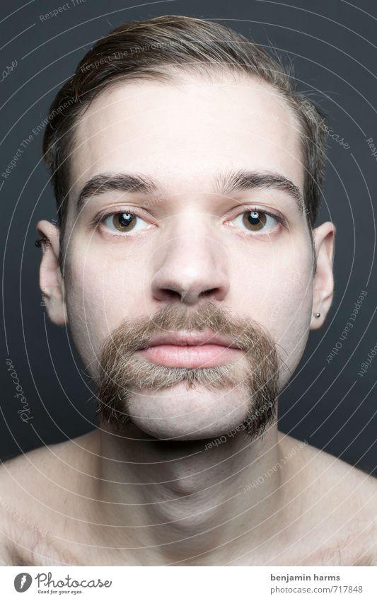 change #2 maskulin Junger Mann Jugendliche Kopf 1 Mensch 18-30 Jahre Erwachsene brünett Scheitel Bart Oberlippenbart Vollbart Wandel & Veränderung Farbfoto