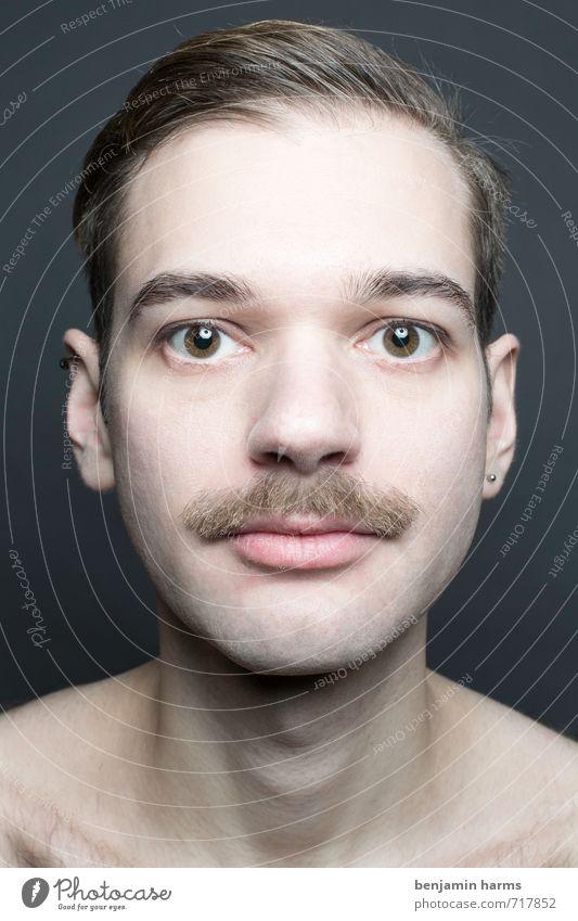 change #4 maskulin Junger Mann Jugendliche Kopf 1 Mensch 18-30 Jahre Erwachsene brünett Scheitel Bart Oberlippenbart Vollbart Wandel & Veränderung Farbfoto
