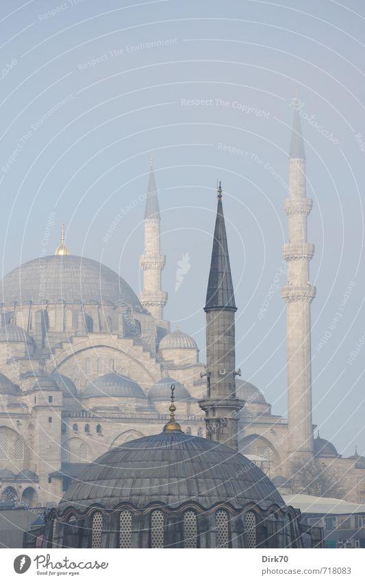 Morgens in Istanbul I Frühling Schönes Wetter Nebel Türkei Turm Bauwerk Gebäude Architektur Moschee Gotteshäuser Kuppeldach Minarett Sehenswürdigkeit