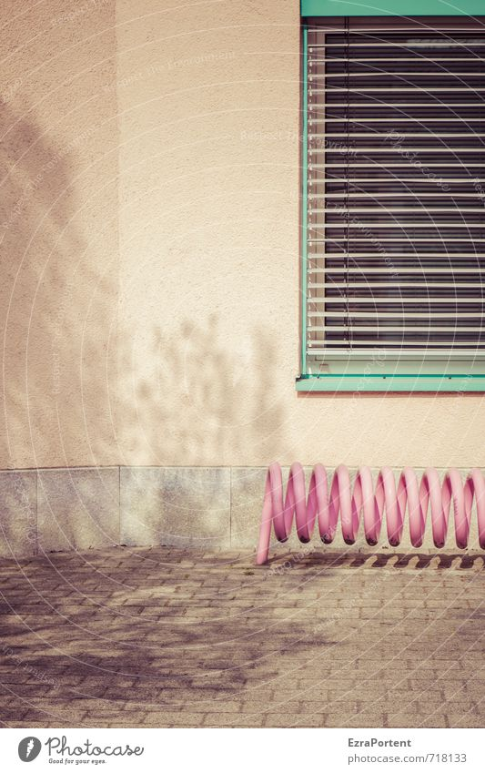 der Baum Stadt Baum Haus Fenster Wand Architektur Gebäude Mauer Stein Linie Fassade rosa orange elegant Verkehr ästhetisch