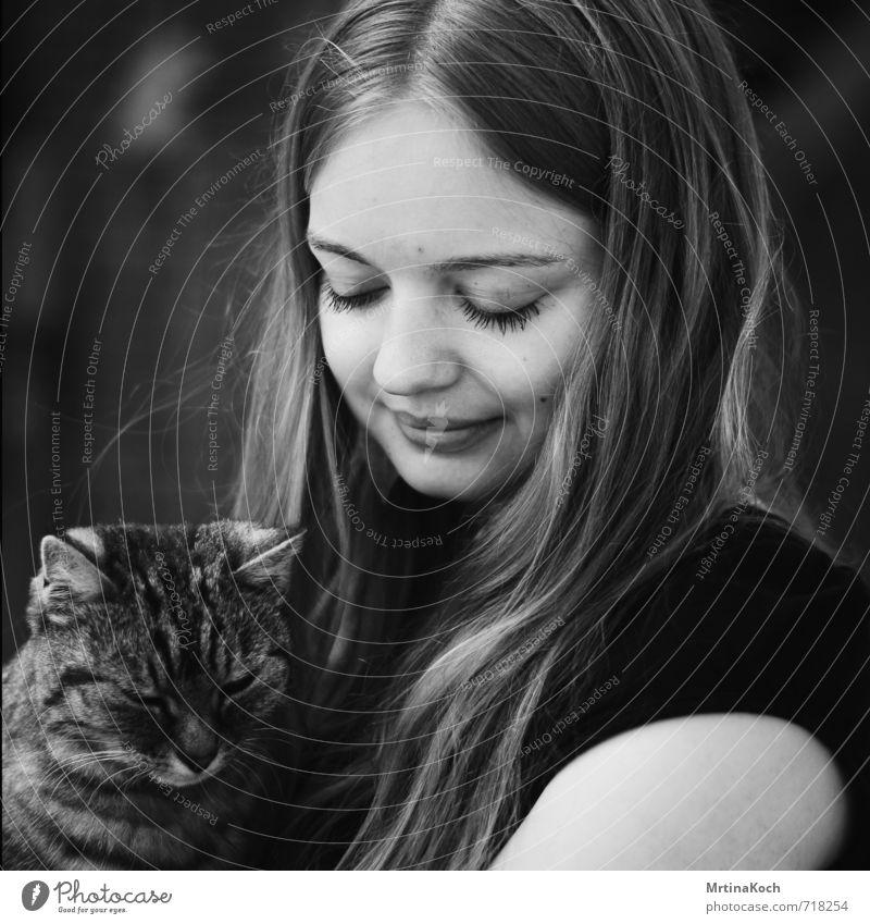 she and the cat from a stranger. Katze Mensch Frau Jugendliche ruhig 18-30 Jahre Tier Junger Mann Erwachsene Liebe feminin Warmherzigkeit Schutz Sicherheit