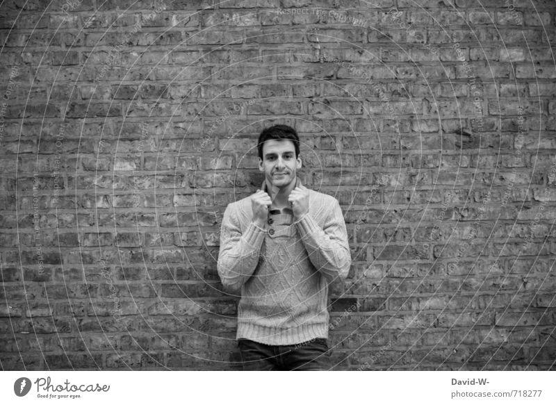 sw Mensch Jugendliche Mann Erotik Junger Mann 18-30 Jahre schwarz Erwachsene Wand Architektur Stil Mauer grau Stein Stimmung Kunst