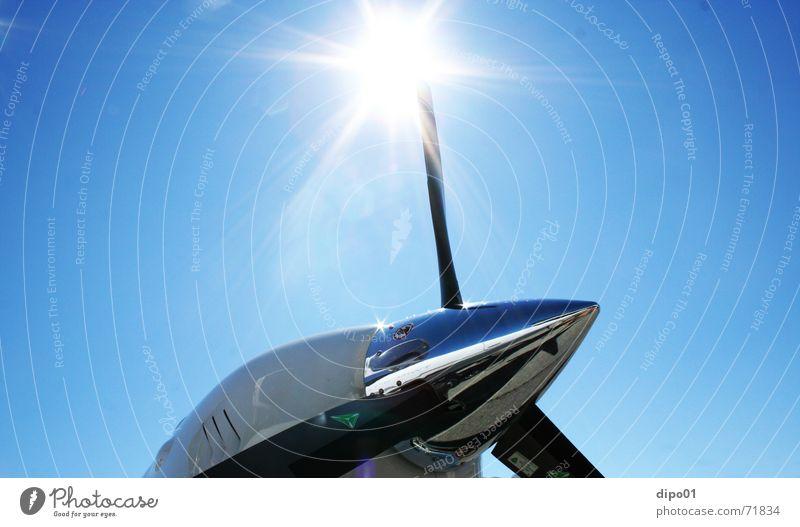 Chrom... Propeller Zeller See Motor Flugzeug Schwerelosigkeit sonner twin star air expo Himmel blau fliegen Freiheit