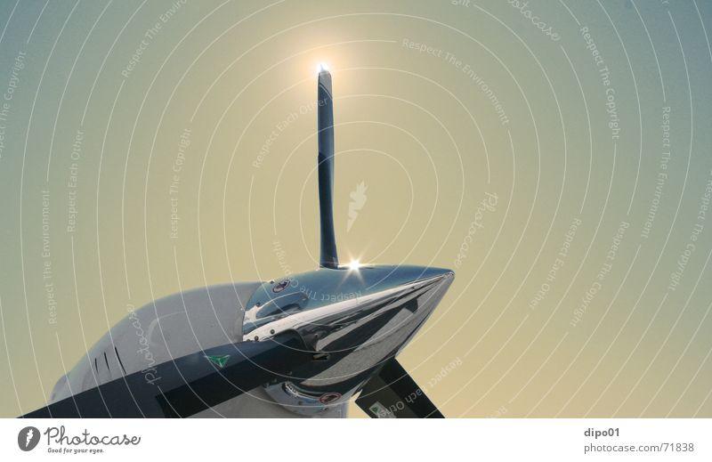 Letzte Version Chrom Propeller Zeller See Sonnenuntergang Dämmerung Motor Flugzeug Schwerelosigkeit sonner twin star air expo Himmel fliegen Freiheit