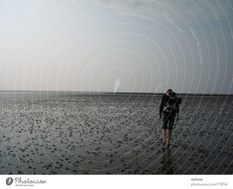 walk to the endlessness Mensch Himmel Meer ruhig Einsamkeit Ferne grau wandern gehen laufen Horizont Spaziergang Unendlichkeit Wattenmeer Ebbe Wattwürmer