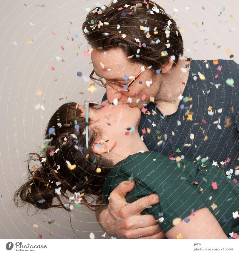 jubiläum Party Feste & Feiern Valentinstag Silvester u. Neujahr Hochzeit Paar Partner 2 Mensch Küssen frei Glück wild mehrfarbig Freude Fröhlichkeit