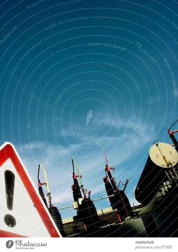 ACHTUNG HIMMEL | vorsicht warnung hinweis strom energie himmel Himmel Kraft Schilder & Markierungen Verkehr Elektrizität Macht Technik & Technologie
