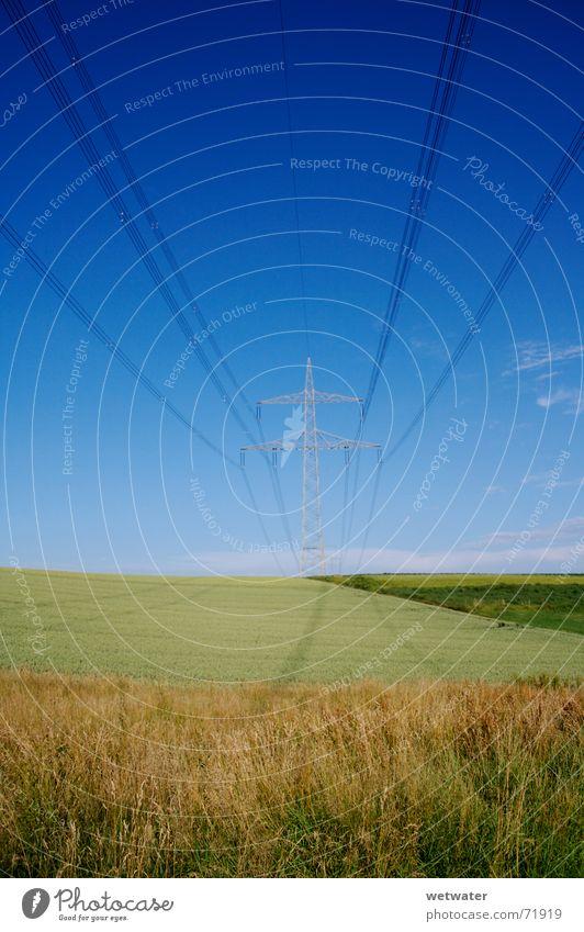 powerline Natur Himmel blau Kraft Feld Elektrizität Hügel Leitung elektrisch