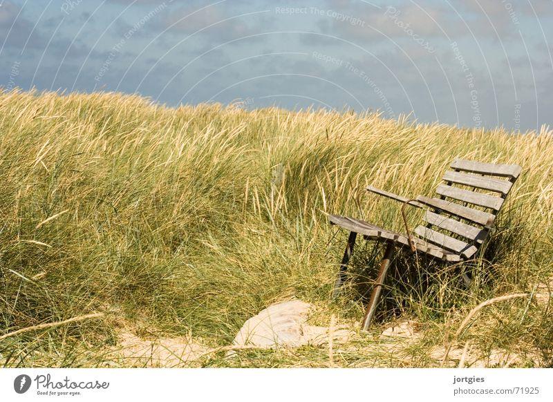 Stilles Örtchen Meer Strand Ferien & Urlaub & Reisen ruhig Erholung Gras Küste Wind sitzen Pause Bank Stranddüne Düne Brise