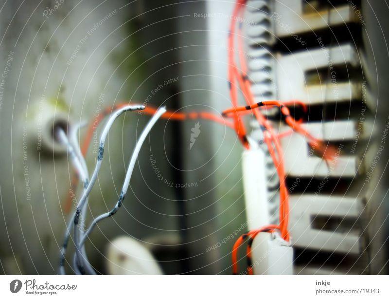 wirres Zeug rot Gefühle Stimmung orange Energiewirtschaft Technik & Technologie Telekommunikation Baustelle Kabel Wissenschaften Irritation chaotisch