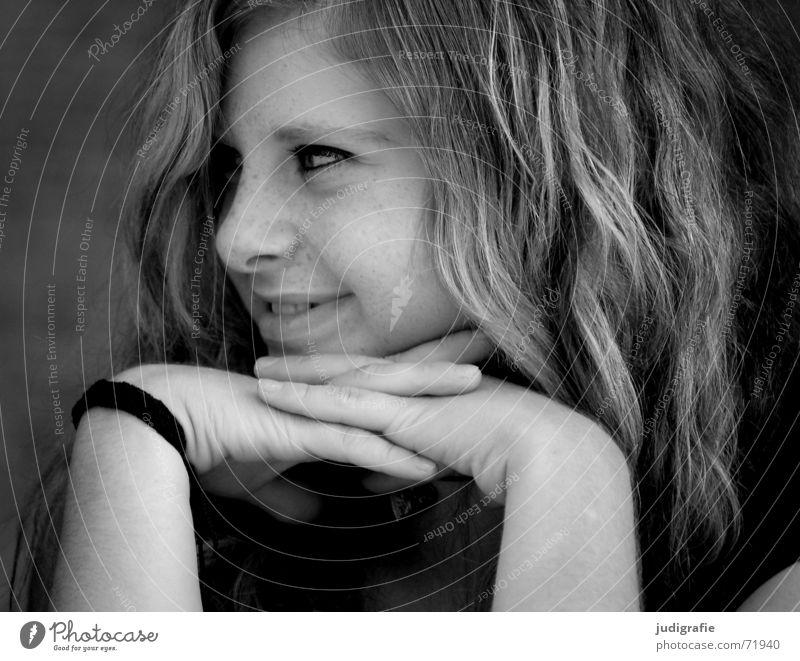 Ferientag Frau Hand Jugendliche Mädchen weiß Sommer Gesicht Ferien & Urlaub & Reisen schwarz Auge Glück lachen Haare & Frisuren Kopf Mund Nase