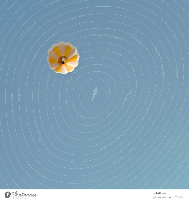 Prilblume Himmel nur Himmel Wolkenloser Himmel fahren fliegen blau gelb weiß Froschperspektive aufwärts Blick nach oben Luft Luftverkehr luftig Ballone Freiheit
