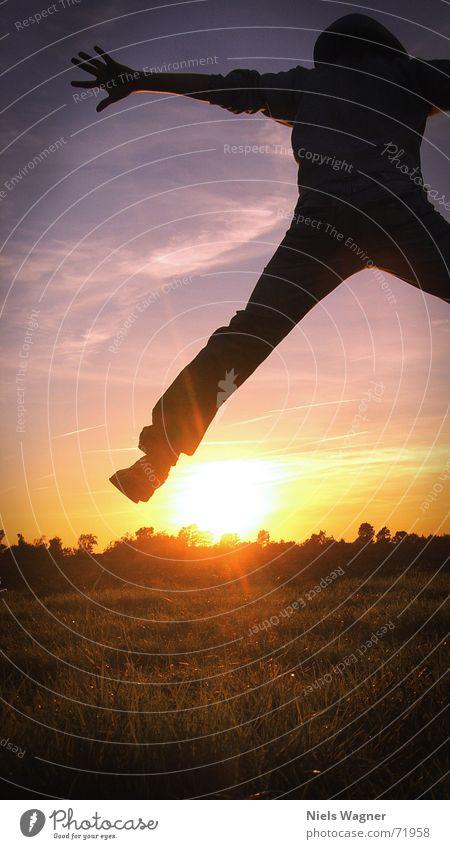 free as a bird Sonnenuntergang Wiese Gras Wolken gelb springen Luft Sonnenstrahlen flo Himmel blau Mensch Stern (Symbol)