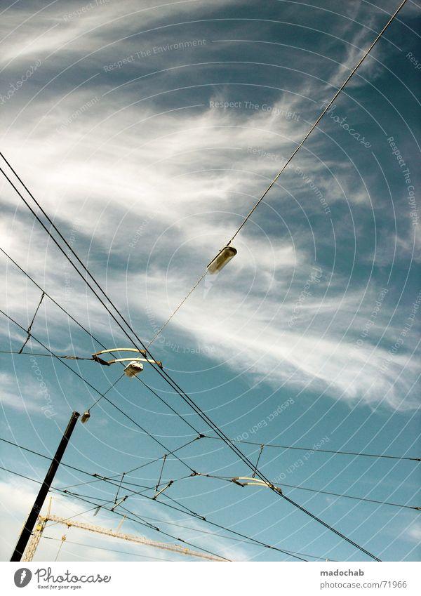 COME INTO MY ARMS | himmel wolken sky clouds stromleitungen Natur Himmel blau Wolken Kraft Wetter Kraft Industrie Energiewirtschaft Elektrizität Kabel Laterne Strommast Leitung
