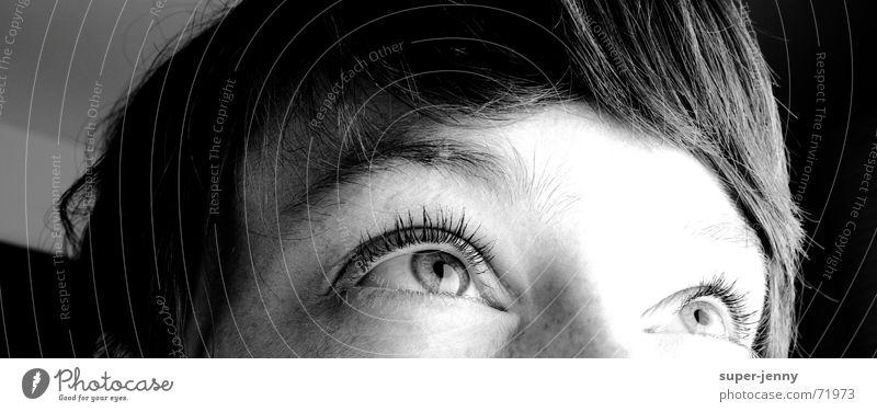 hä? Frau Mensch weiß Gesicht schwarz Auge dunkel