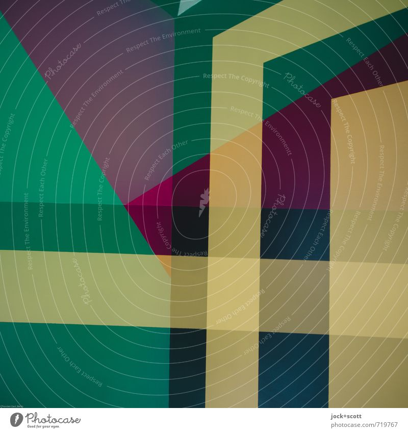 gradlinig grün gelb Stil Design Dekoration & Verzierung Ordnung Kraft modern ästhetisch Streifen einzigartig Grafik u. Illustration stark fest eckig Doppelbelichtung