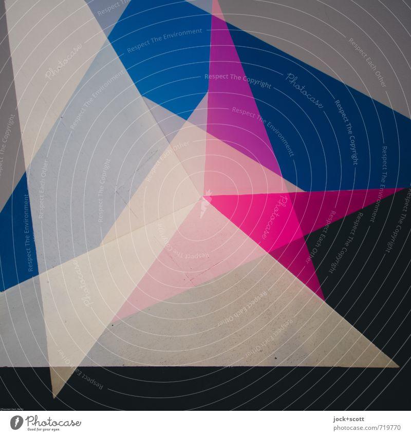 Algol Farbraum Grafik u. Illustration Dekoration & Verzierung Dreieck Stern (Symbol) Strukturen & Formen eckig positiv Spitze blau grau rosa schwarz Stimmung