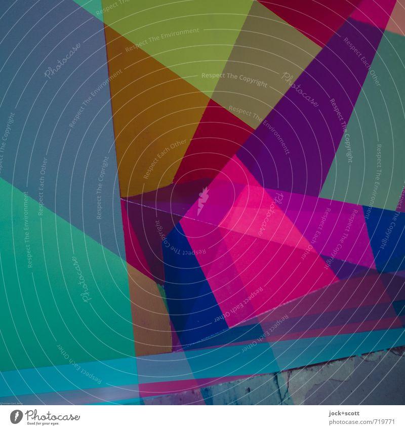 Contenance Stil Design Grafik u. Illustration Dekoration & Verzierung Kunststoff Ornament Netzwerk Rechteck Geometrie ästhetisch Coolness eckig elegant trendy