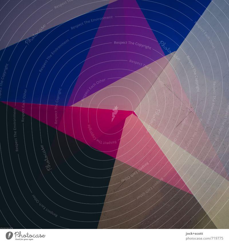 Puzzle Farbraum Grafik u. Illustration Dekoration & Verzierung Netzwerk Rechteck Dreieck ästhetisch viele blau violett rosa Design modern Doppelbelichtung