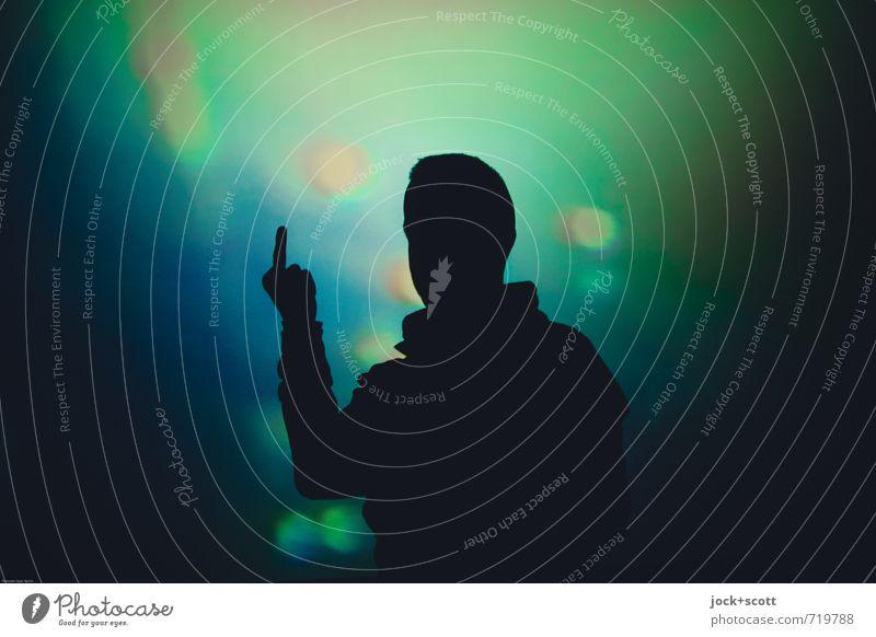 F**k You, Dreams Mensch Mann blau grün Erwachsene Gefühle träumen leuchten Technik & Technologie Idee Coolness Körperhaltung Kunststoff Geister u. Gespenster Konflikt & Streit Erwartung