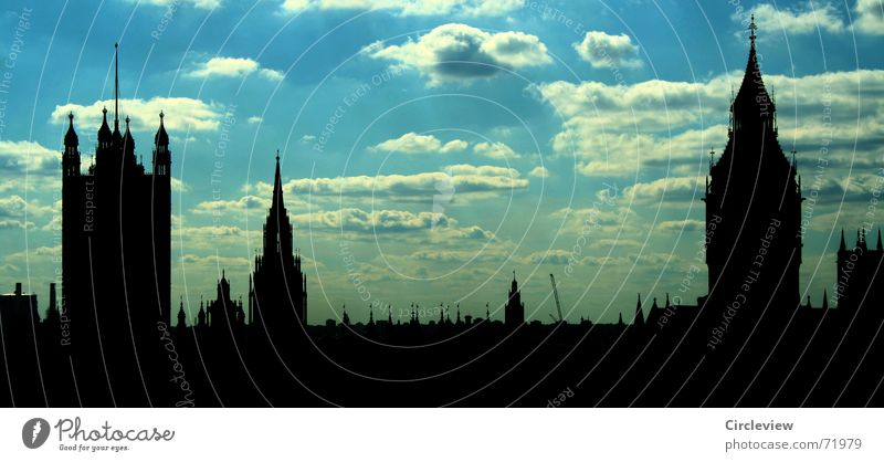 Great Br.... London England Großbritannien dunkel Tourist Glockenspiel Wahrzeichen Gebäude Bekanntheit Ferien & Urlaub & Reisen Stadt Kunst schwarz Wolken