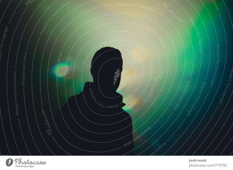 How can you be sure? harmonisch Mann Erwachsene 1 Mensch Lichtinstallation Denken träumen fantastisch Unendlichkeit Geborgenheit Gelassenheit Idee Identität