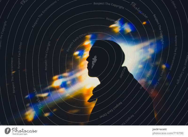Where Are You Now? Mann Lichtinstallation Denken leuchten träumen fantastisch Unendlichkeit Sehnsucht Identität Projektion Traumwelt Explosion Weltall