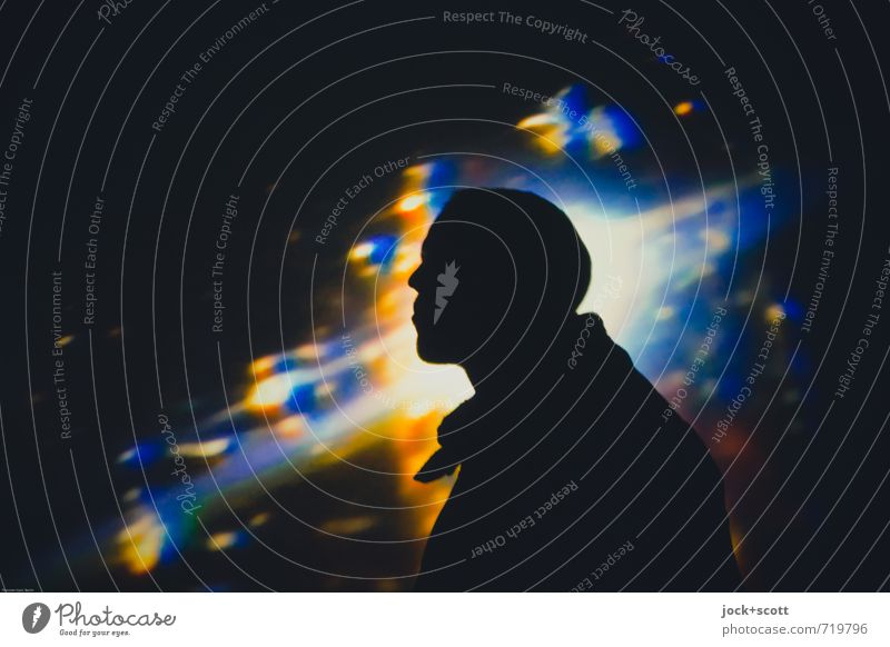 Where Are You Now? Mensch Mann Erwachsene Leben Denken Freiheit träumen leuchten warten fantastisch Zukunft Coolness Unendlichkeit Weltall Sehnsucht Kunststoff