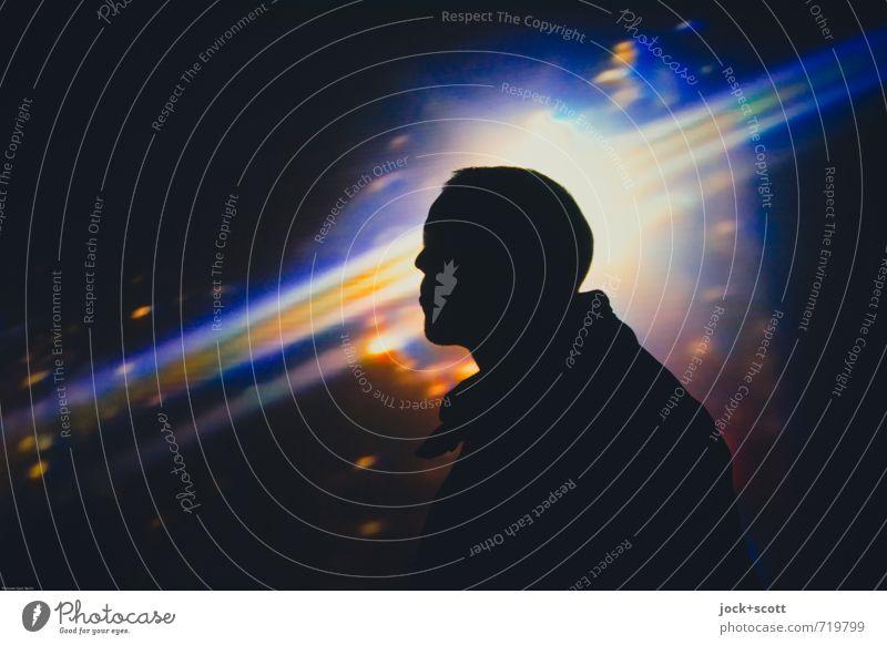 Life, the universe, and I Mensch Mann Farbe Erwachsene Kopf träumen leuchten fantastisch genießen Streifen Coolness Macht Unendlichkeit Weltall Vertrauen Geister u. Gespenster