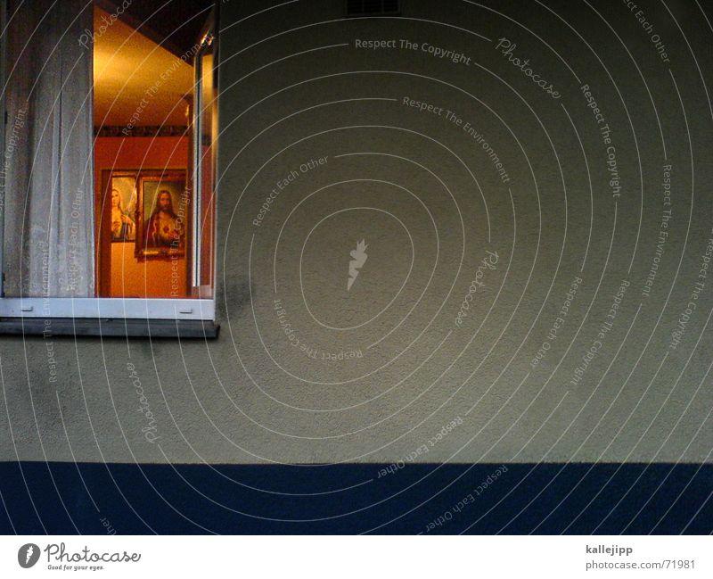 jesus allein zu hause Handy-Kamera Jesus Christus Religion & Glaube Christentum Gebet Trauer Fenster Licht Wand Gardine Ikonen Maria sterbezimmer