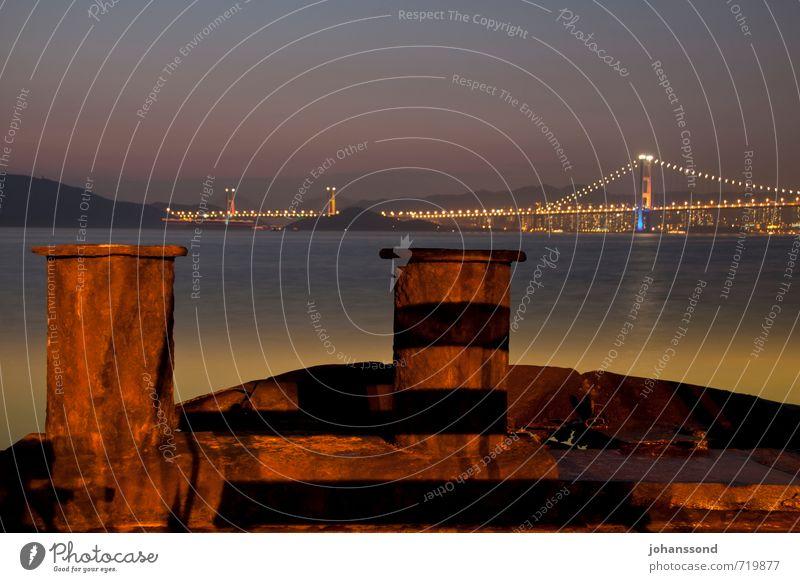 Ma Wan Channel Ferien & Urlaub & Reisen Stadt alt Meer Einsamkeit Küste braun leuchten Hochhaus Vergänglichkeit Brücke Warmherzigkeit kaputt Sicherheit Hügel festhalten