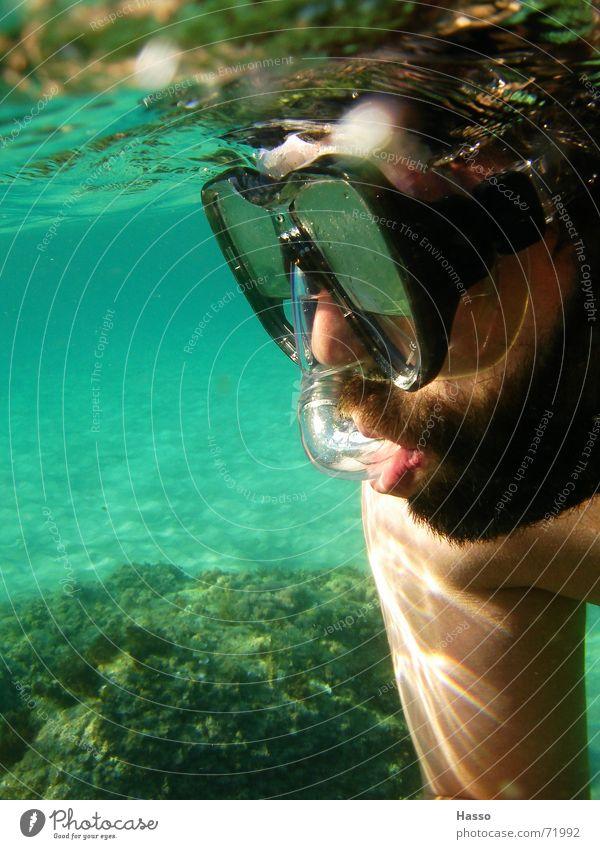 Blubb Blubb³ Mann Wasser Meer Sommer Ferien & Urlaub & Reisen Stein Wärme Sand Physik tauchen Bart Frankreich Erfrischung kühlen Expedition Mittelmeer