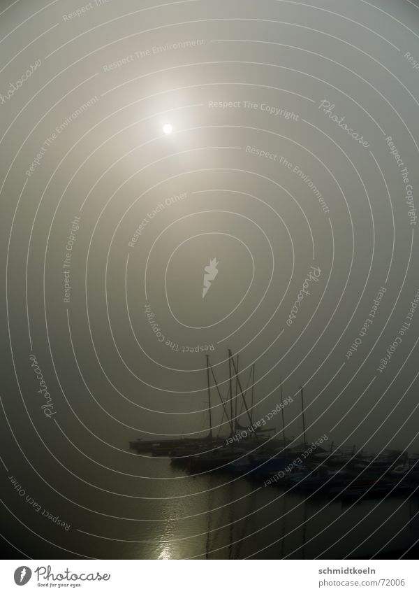 steg im nebel Sonne Meer See Wasserfahrzeug Nebel Hafen Steg Anlegestelle