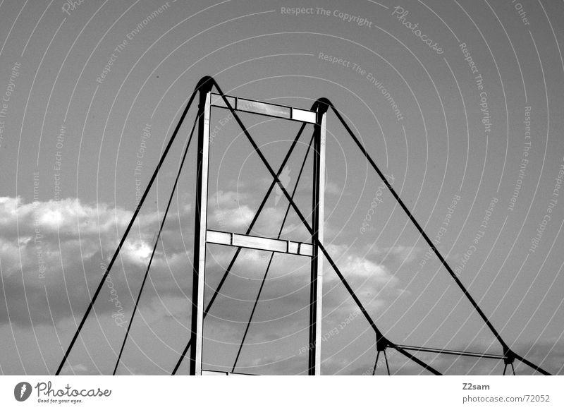 bridge geometry Geometrie Wolken Himmel abstrakt Stahl oben Brücke Linie Netz Baugerüst himml sky hinüber