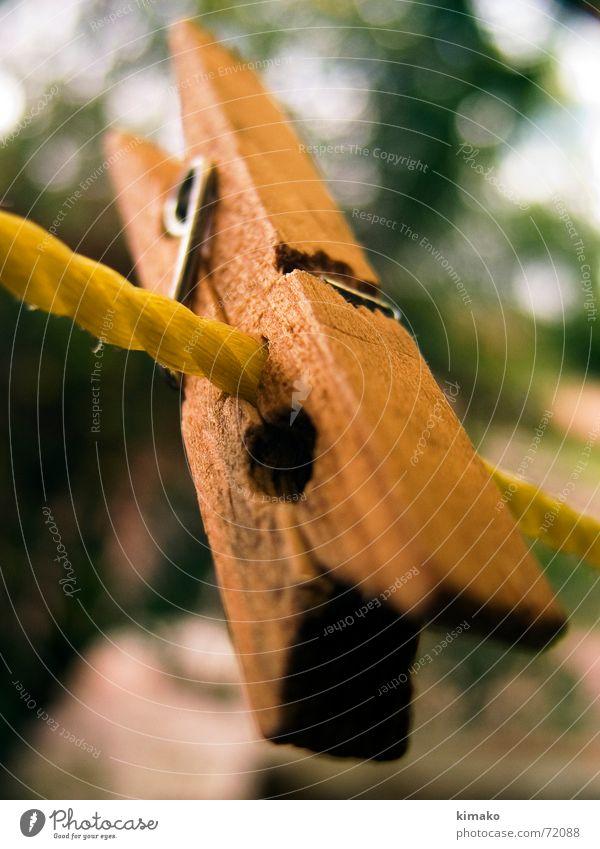 Clamp gelb Holz braun Seil Bekleidung Perspektive Wäscheklammern Holzmehl