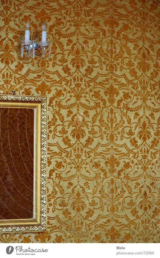 spieglein spieglein an der wand II gelb Wand Glas gold Spiegel Tapete Rahmen Ornament