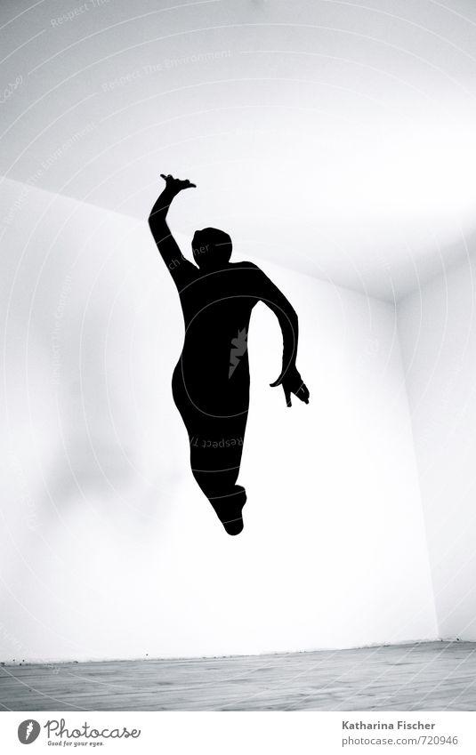 #720946 Körper 1 Mensch Kunst Tanzen Tänzer Bewegung springen sportlich frei Fröhlichkeit Glück verrückt wild grau schwarz weiß Freude Lebensfreude Optimismus