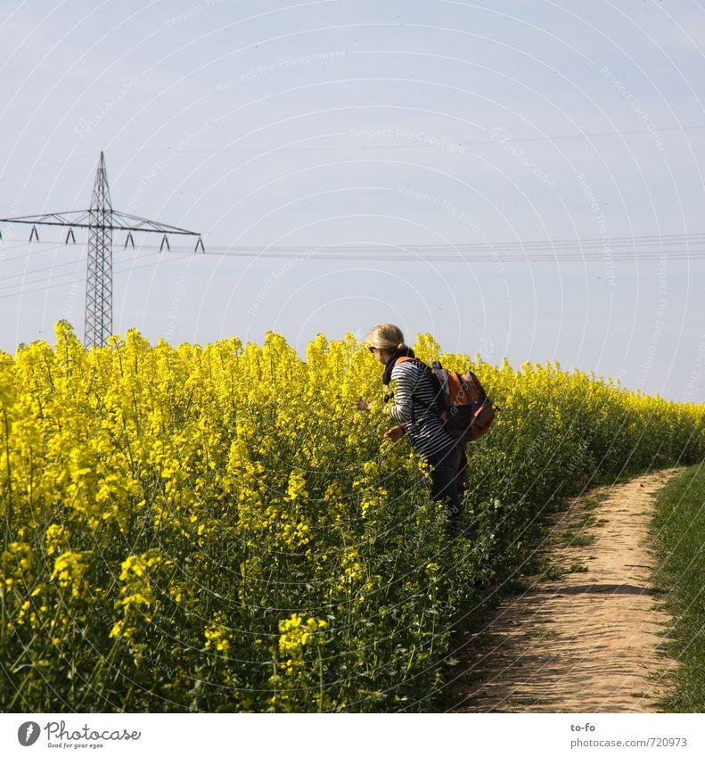 Welch ein Duft! Mensch feminin Junge Frau Jugendliche 1 18-30 Jahre Erwachsene Umwelt Landschaft Pflanze Himmel Frühling Schönes Wetter Blüte Nutzpflanze Raps